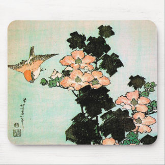 Katsushika Hokusai (葛飾北斎) - Hibiscus and Sparrow Mouse Pad