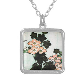 Katsushika Hokusai (葛飾北斎) - Hibiscus and Sparrow Silver Plated Necklace