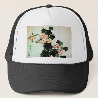 Katsushika Hokusai (葛飾北斎) - Hibiscus and Sparrow Trucker Hat