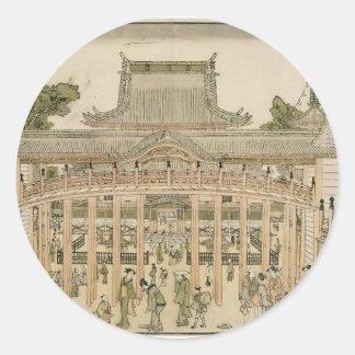 Katsushika Hokusai:Courtyard of the Toeizan Temple Stickers