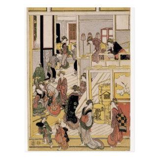 Katsushika Hokusai: New Year's Day,Teahouse Ogi-ya Postcard