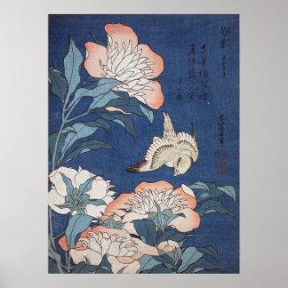 Katsushika Hokusai Peonies and Canary Poster