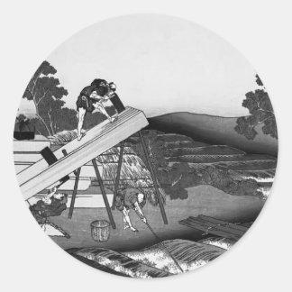 Katsushika Hokusai: Sawyers Cutting a Log Round Stickers