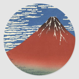 Katsushika Hokusai's Red Fuji Classic Round Sticker