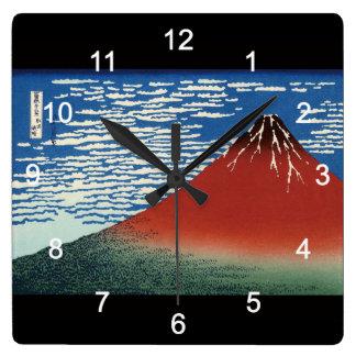 Katsushika north 斎, Hokusai Square Wall Clock