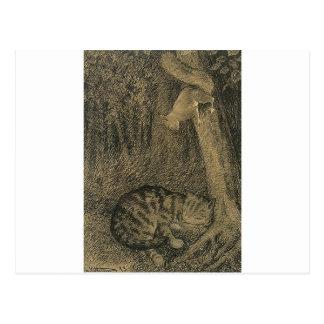 Katt Og Ekorn by Theodor Severin Kittelsen Postcard