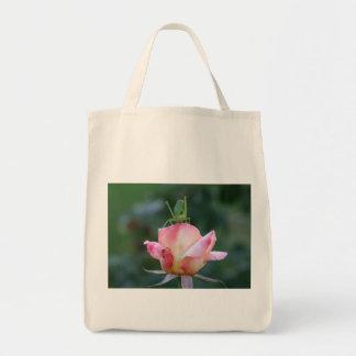 Katydid on Pink Rose Tote Bag