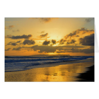 Kauai Beach Sunset, Niihau on the Horizon Card
