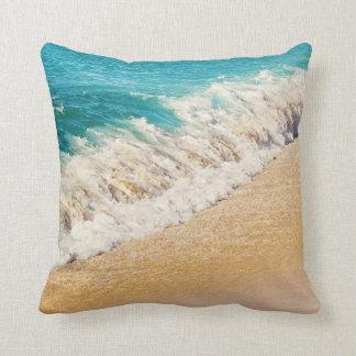 Kauai, Hawaii Beach - Teal Ocean Wave Photo Pillow