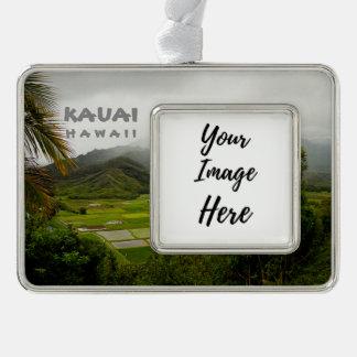 Kauai Hawaii Landscape Photography Silver Plated Framed Ornament