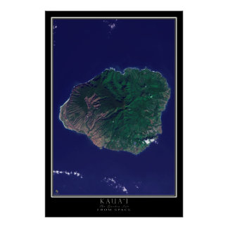 Kauai Island Hawaii From Space Satellite Map Poster