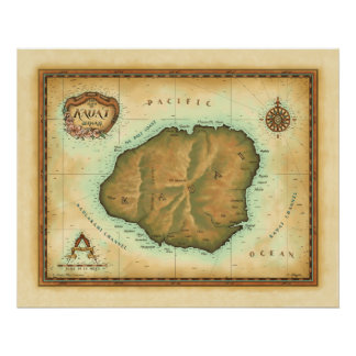 Kauai-map-4000-dpi-across Poster