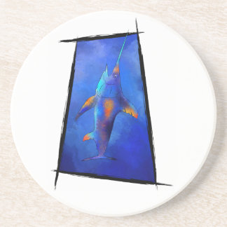 Kauderon V1 - Beautiful Swordfish with text Beverage Coasters