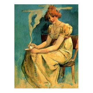Kava By Alphonse (Alfons) Mucha ~ Art Nouveau Postcard