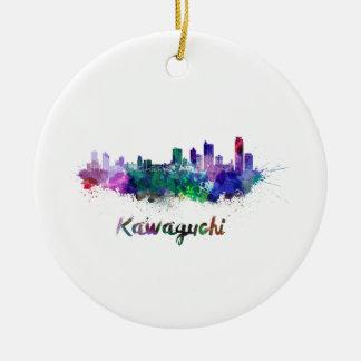 Kawaguchi skyline in watercolor round ceramic decoration