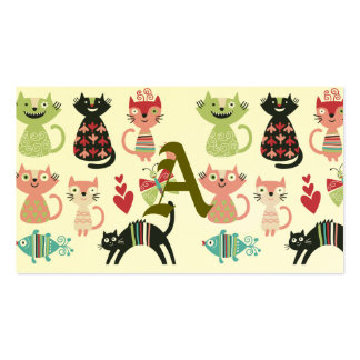 kawai,cute,cats,butterflies,fish,hearts,fun,happy, Double-Sided standard business cards (Pack of 100)