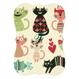 "kawai,cute,cats,butterflies,fish,hearts,fun,happy, 5"" x 7"" invitation card"