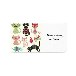 kawai,cute,cats,butterflies,fish,hearts,fun,happy, address label