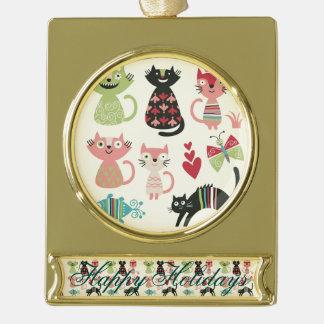 kawai,cute,cats,butterflies,fish,hearts,fun,happy, gold plated banner ornament