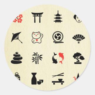 Kawai multi color asian good luck symbols cute fun sticker