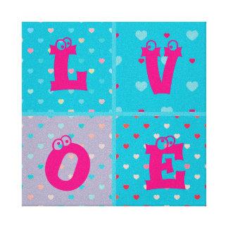 kawai multi color heart pattern cute trendy fun stretched canvas print