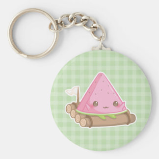 Kawai Watermelon Slice in Cute Brown Raft Keychain