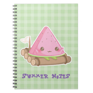 Kawai Watermelon Slice in Cute Brown Raft Notebook