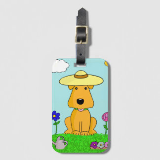 Kawaii Airedale Terrier Dog in Garden Luggage Tag