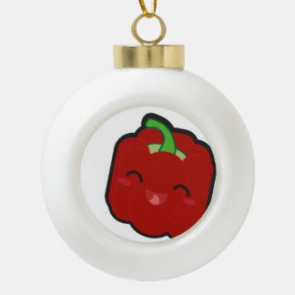 Kawaii and funny red pepper ceramic ball christmas ornament