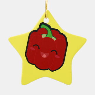 Kawaii and funny red pepper ceramic ornament