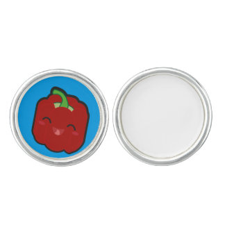 Kawaii and funny red pepper cufflinks