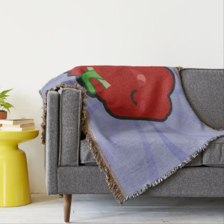 Kawaii and funny red pepper throw blanket