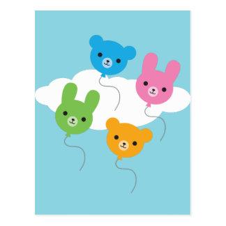 Kawaii Animal Balloons Postcard