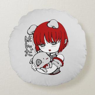 kawaii animal manga girl round cushion