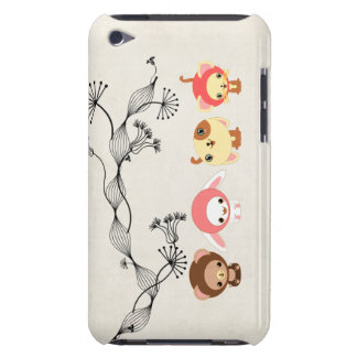 kawaii animals on vintage wrinkled old paper iPod touch cover