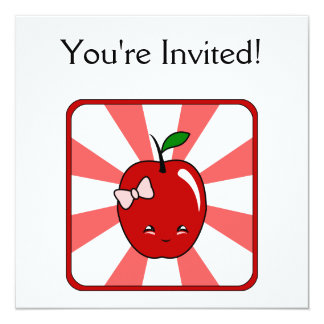 Kawaii Apple (Girl) 13 Cm X 13 Cm Square Invitation Card