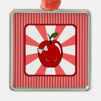 Kawaii Apple (Girl) Silver-Colored Square Decoration