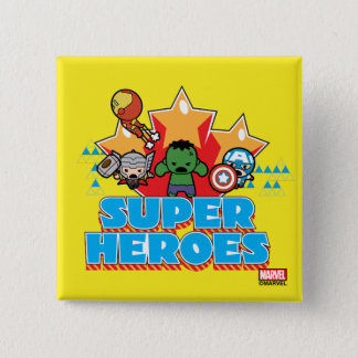 Kawaii Avenger Super Heroes Graphic 15 Cm Square Badge