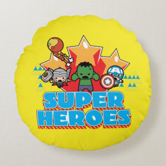 Kawaii Avenger Super Heroes Graphic Round Cushion