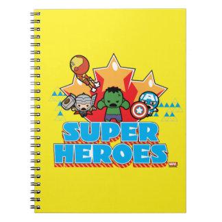 Kawaii Avenger Super Heroes Graphic Spiral Notebook
