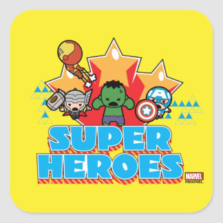 Kawaii Avenger Super Heroes Graphic Square Sticker