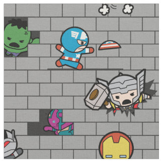 Kawaii Avengers Brick Wall Pattern Fabric