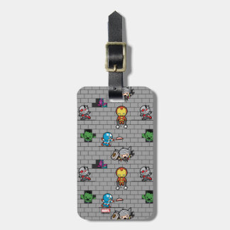 Kawaii Avengers Brick Wall Pattern Luggage Tag