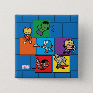 Kawaii Avengers In Colorful Blocks 15 Cm Square Badge