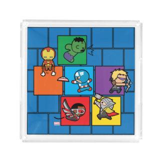 Kawaii Avengers In Colorful Blocks Acrylic Tray