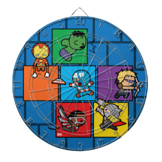 Kawaii Avengers In Colorful Blocks Dartboard