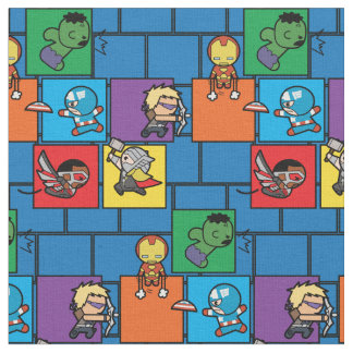 Kawaii Avengers In Colorful Blocks Fabric