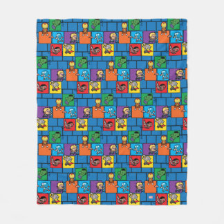 Kawaii Avengers In Colorful Blocks Fleece Blanket