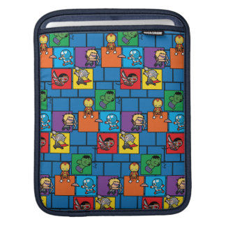 Kawaii Avengers In Colorful Blocks iPad Sleeve