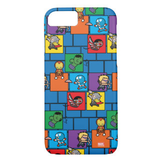 Kawaii Avengers In Colorful Blocks iPhone 8/7 Case